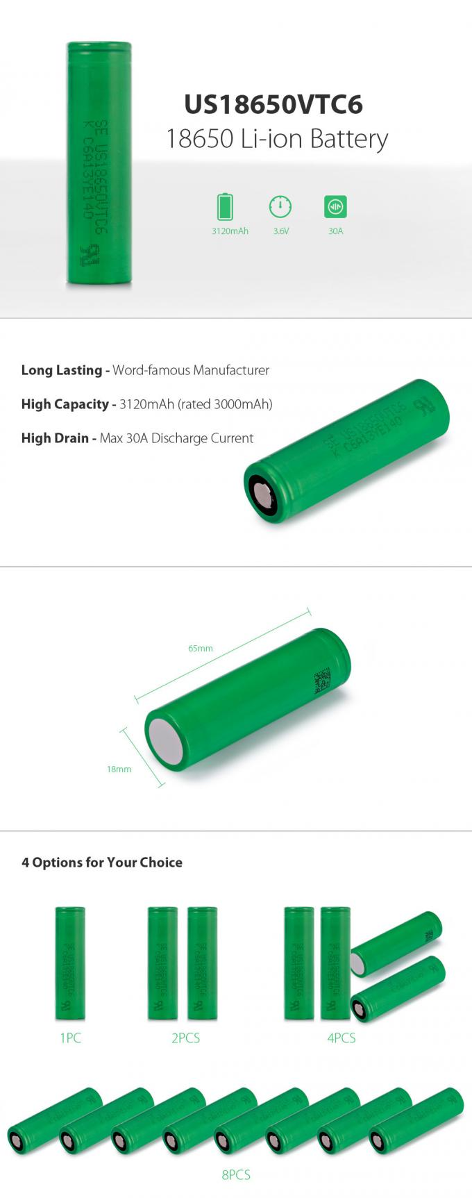 SONY VTC6 18650 Battery 3120mAh 3.6V Li-Ion Battery , Discharge Current 30A High Drain