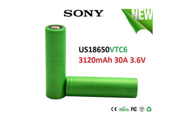 China SONY VTC6 18650 Battery 3120mAh 3.6V Li-Ion Battery , Discharge Current 30A High Drain supplier